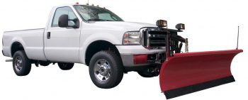 pickup truck with plow for municipal maintenance